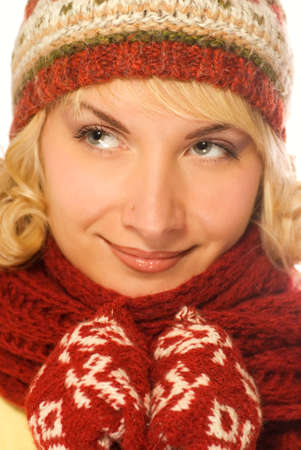 Close-up portrait of a beautiful girl in winter clothing photo