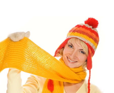 Beautiful smiling girl in winter clothing. Lots of possibilities to put your text on this image Stock Photo - 2262026