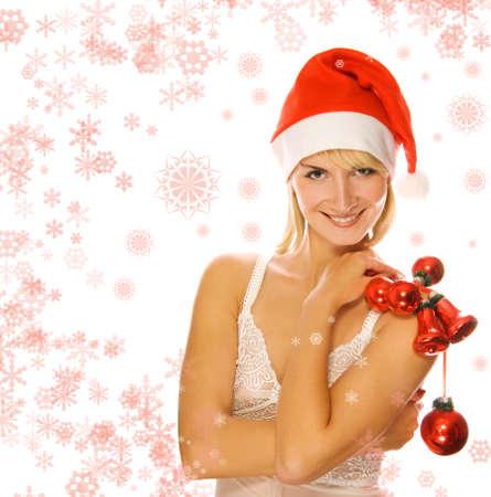 Mrs. Santa with Christmas decoration photo