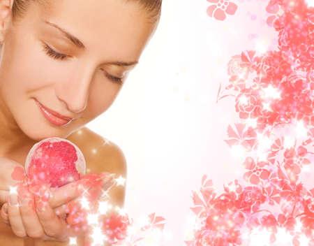 remedial: Beautiful girl with aroma bath ball