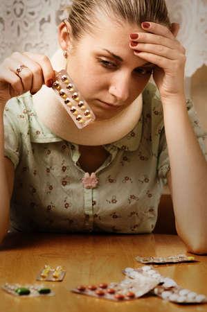 tonsillitis: Sick blond girl Stock Photo