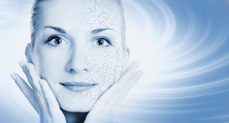 aging skin: Girls face with half healthy and half itchy, dry skin