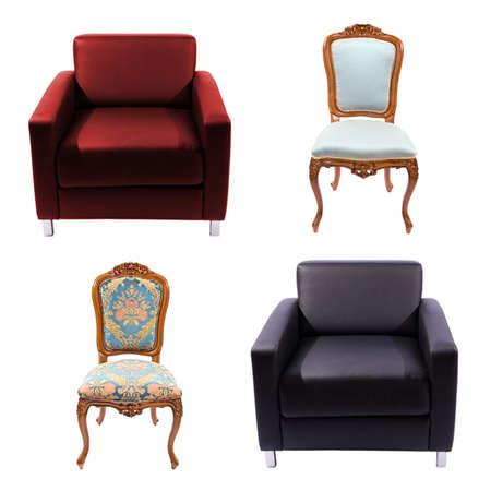 Furniture set isolated on white photo