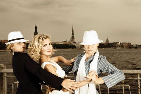 threesome: Threesome tango near the river Stock Photo
