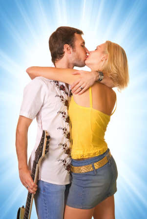 Young couple in love isolated on abstract background Stock Photo - 2346522