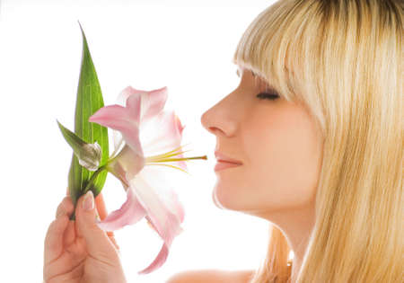 Beautiful woman with pink lily Stock Photo - 2378672