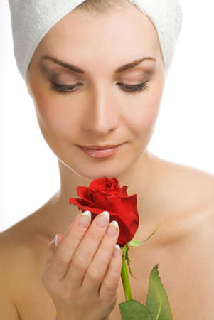 Beautiful young woman with red rose Stock Photo - 2378669