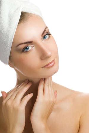 Beautiful girl massaging her face Stock Photo - 2378664