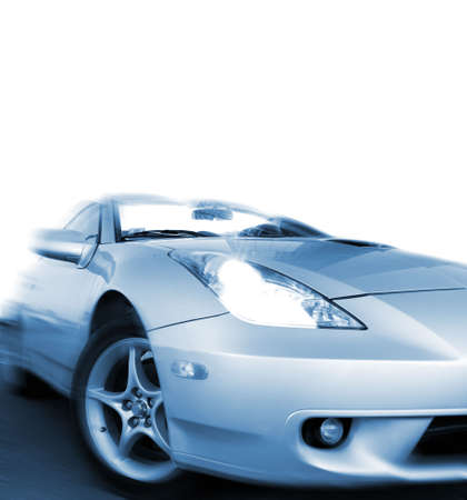 blue toned: Fast sportcar isolated on white background (toned in blue)