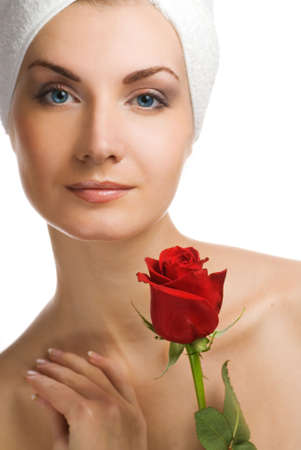 Beautiful young woman with red rose Stock Photo - 2432857