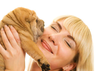 Beautiful girl with sharpei puppy photo