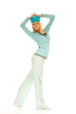 Beautiful teenage girl isolated on white background photo