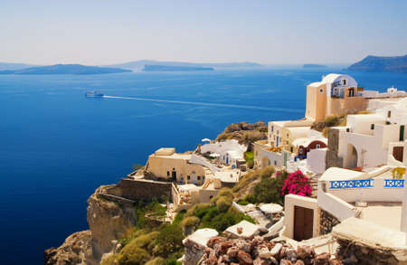 Beautiful landscape view (Santorini Island, Greece) photo