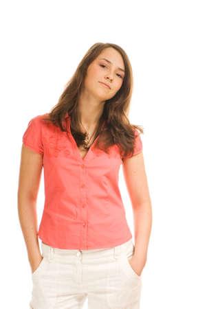 Carefree teenage girl isolated on white background photo