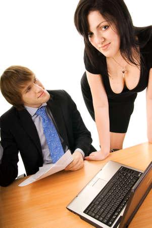 secretaria sexy: Jefe con una secretaria atractiva Foto de archivo