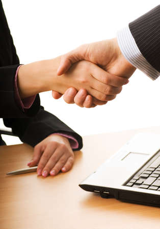 verdrag: Business man en vrouw, het maken van een business-verdrag Stockfoto
