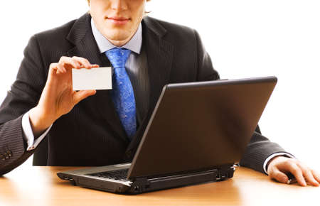 Business man holding empty card Stock Photo - 2513767