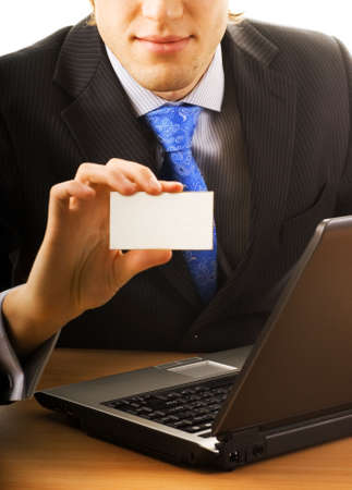Business man with a blank card Stock Photo - 2544198