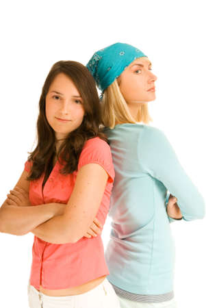 dissension: Two teenage girl in odds with each other