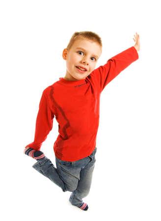 Happy boy isolated on white background photo