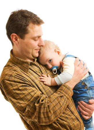 lullaby: Father with his child isolated on white background