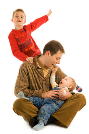 lullaby: Happy father with his sons isolated on white background