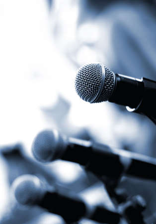 Microphone on abstract blurred background (shallow DoF) photo