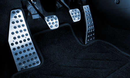 Sport car chrome pedals (toned in blue) photo