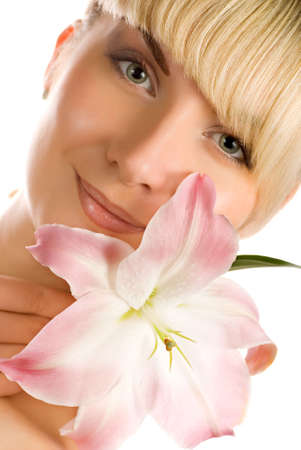 Beautiful woman with pink lily Stock Photo - 2644829