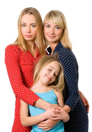 Three girls isolated on white background Stock Photo - 2671941