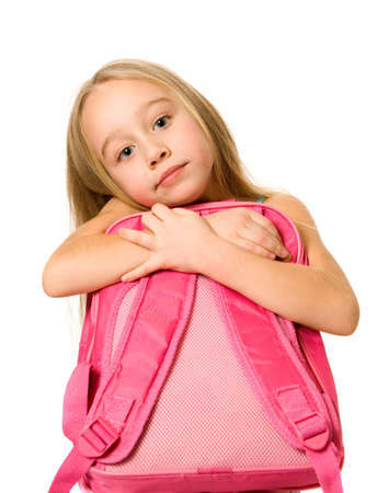 Younh girl with a pink backpack Stock Photo - 2671918