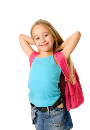 Young girl with a pink backpack Stock Photo - 2688492