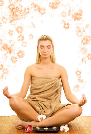 Beautiful young woman meditating Stock Photo - 2688536