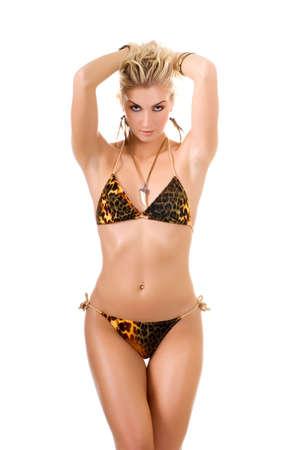ni�as en bikini: Mujer salvaje atractiva aislada en el fondo blanco