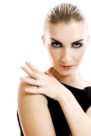 Beautiful woman close-up portrait photo