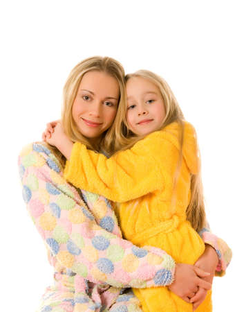 Mother and her daughter in colorful bathrobes Stock Photo - 2731578