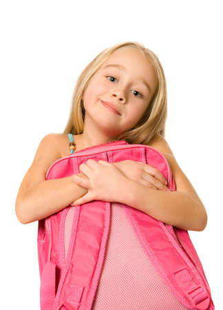 Young girl with a pink backpack photo