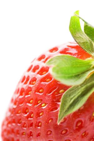 Ripe strawberry isolated on white background photo