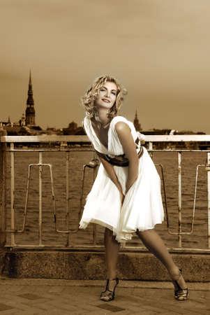 monroe: Beautiful retro stylized photo of a pretty woman that looks like Marilyn Monroe Stock Photo