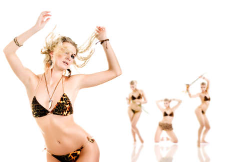 Group of beautiful dancing women isolated on white background Stock Photo - 2762343