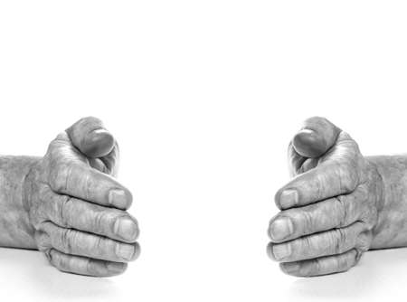 Monochrome picture of old hands isolated on white background Stock Photo - 2799751
