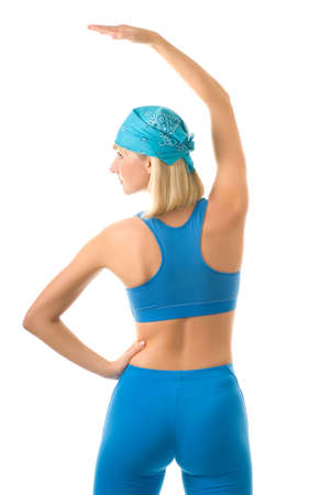 Young woman doing fitness exercise isolated on white background Stock Photo - 2797255
