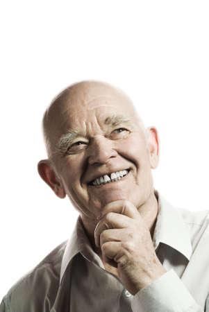 Happy elderly man isolated on white background Stock Photo