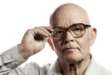 Elderly man with massive glasses isolated on white background Stock Photo - 2797268