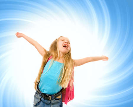 Happy young girl with a pink backpack over abstract blue background Stock Photo - 2880700
