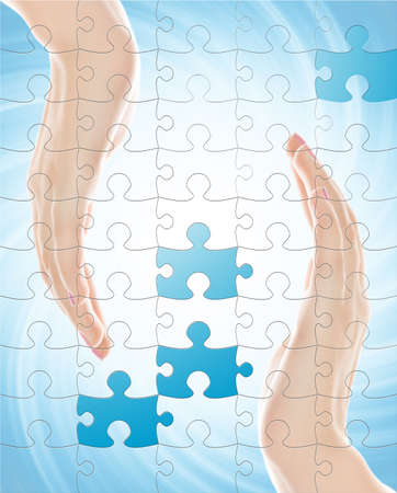 Two hands isolated over abstract background with puzzle effect Stock Photo - 2924343
