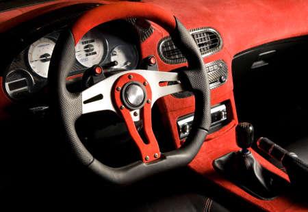 gearstick: Tuned sport car. Luxury red velvet interior