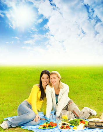 Two beautiful girls at picnic Stock Photo - 3008757