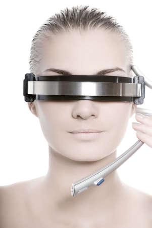 Futuristic cyber online operator photo