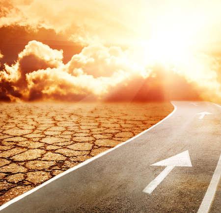 Highway to hell through desert Stock Photo - 3243188